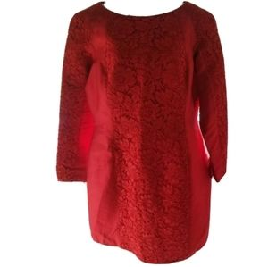 Valentino Red Long Sleeve Warp Pleated Dress